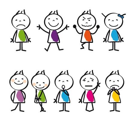 niños tristes: Los niños de dibujos animados lindo y colorido triste y feliz Vectores