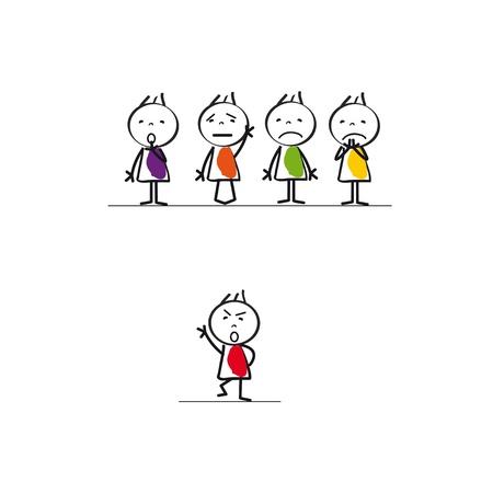 Slechte leider groep, abstract zakelijk concept met kinderen cartoon