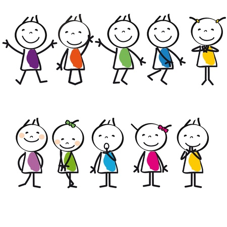 Cute and colorful happy cartoon kids, abstract