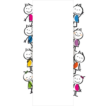 Small and happy cute kids with banner Stock Vector - 17578221