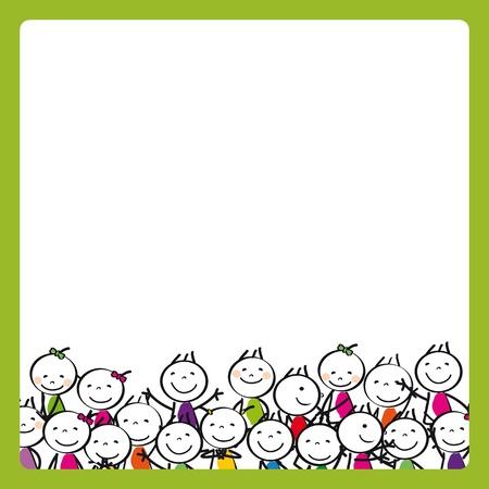 escuela caricatura: Peque�os ni�os lindos y felices con bandera