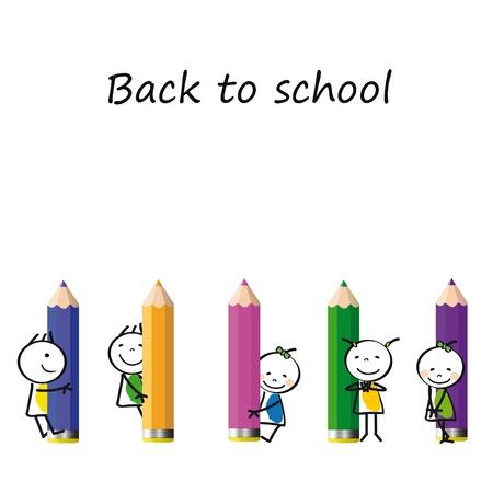 chicos pintando: Felices los ni�os coloridos en el escritorio con l�pices de colores Vectores