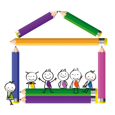 Happy colorful kids on house with crayons