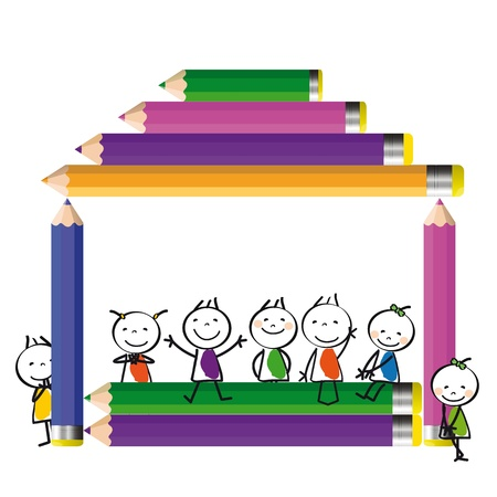 Happy colorful kids on house with crayons Stock Vector - 17578202