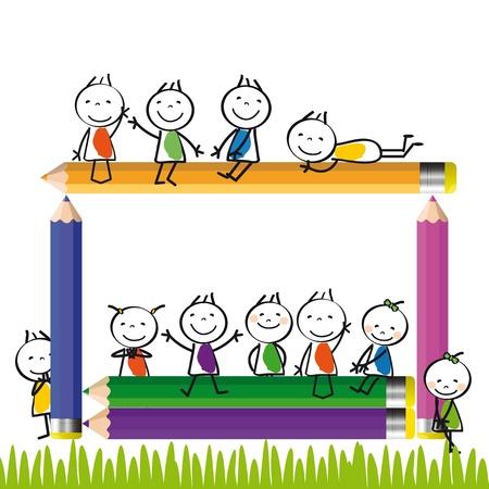 home moving: Felices los ni�os coloridos en casa con l�pices de colores Vectores