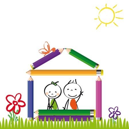 Happy colorful kids on house with crayons Vector