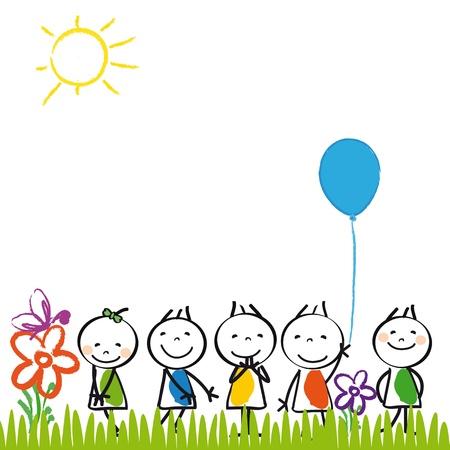 Kleine en gelukkige jonge geitjes in de zomer tuin Vector Illustratie