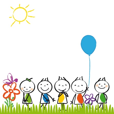 Small and happy kids in summer garden Stock Vector - 17578212