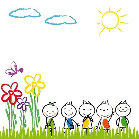 Los niños pequeños y felices en el jardín de verano Ilustración de vector