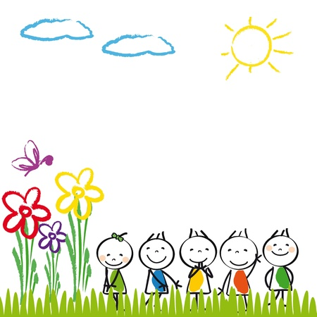 kids garden: Small and happy kids in summer garden
