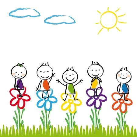 kinder: Los ni�os peque�os y felices en el jard�n de verano Vectores