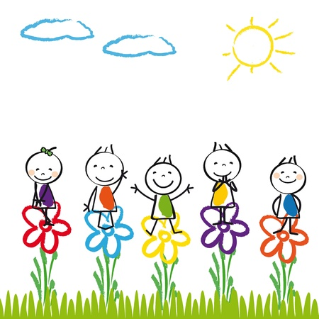 nursery school: Small and happy kids in summer garden