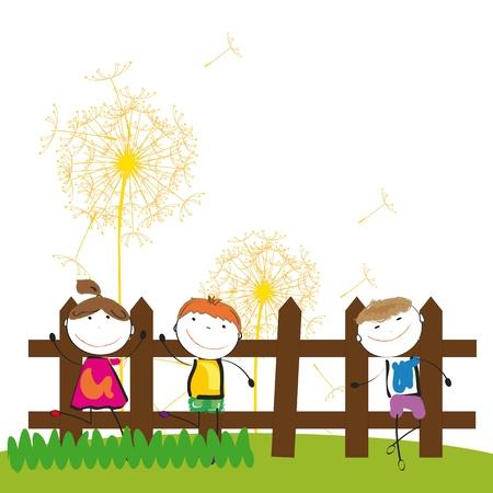 Felices los niños y lindo y una chica en el jardín