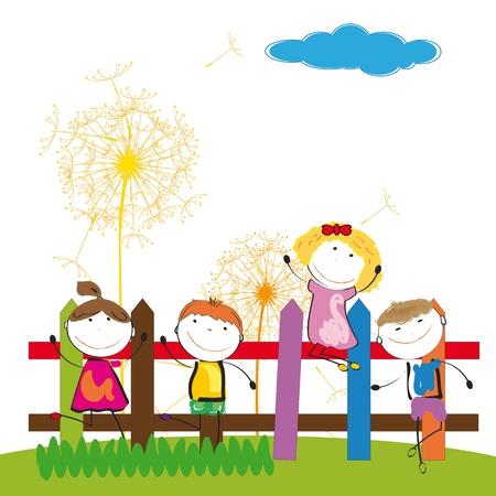 jumping fence: Felices los niños y lindo y una chica en el jardín