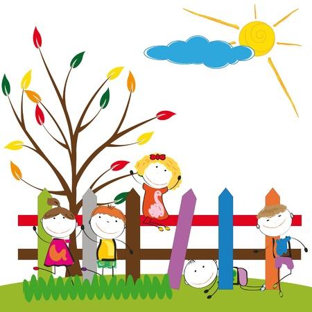 jumping fence: Niños pequeños y felices en la cerca colorido