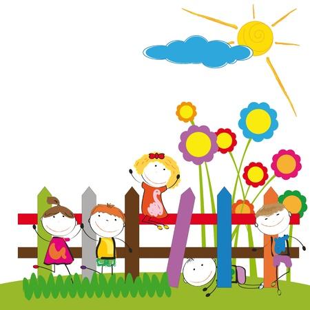 Gl�ckliche und nette Jungen und M�dchen im Garten Illustration