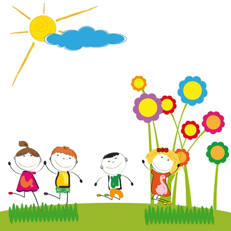Happy and cute boys and girl in garden Stock Vector - 17922729