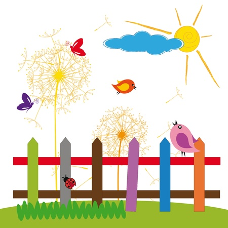 Cute colorful nature with birds and insect Vector