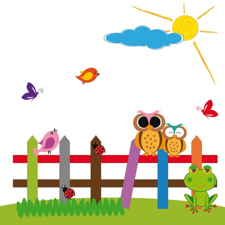 Cute colorful nature with birds and insects Vector