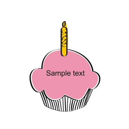 Cute and simple kids frame show birthday cake Stock Vector - 18389720