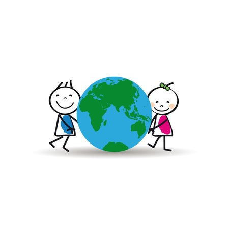 Happy and cute kids with globe, abstract drawing Stock Vector - 18465688