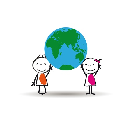 Happy and cute kids with globe, abstract drawing Vector