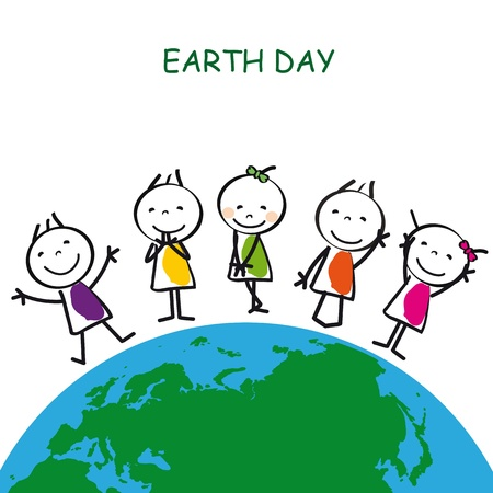 green earth: Happy and cute kids with globe, abstract drawing