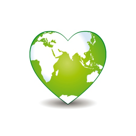 Abstract green heart together with green earth. Ilustrace