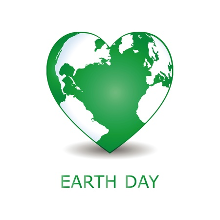 blue earth: Abstract green heart together with green earth. Illustration