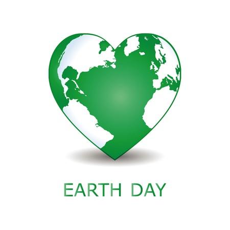 day care: Astratto cuore verde con la terra verde.