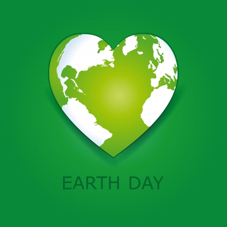 Abstract green heart together with green earth. Vector