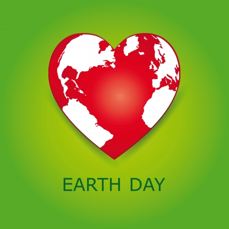 Abstract red heart together with green earth. Vector
