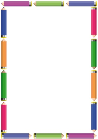 pencil cartoon: Frame with colorful crayons - blue, green, red, yellow
