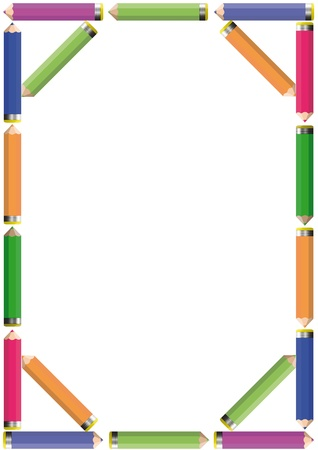 Frame with colorful crayons - blue, green, red, yellow Stock Vector - 19152279
