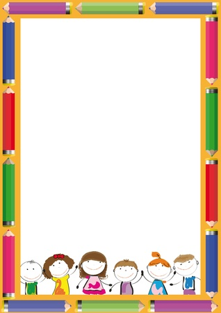 Frame with colorful crayons and happy kids Stock Vector - 19152283