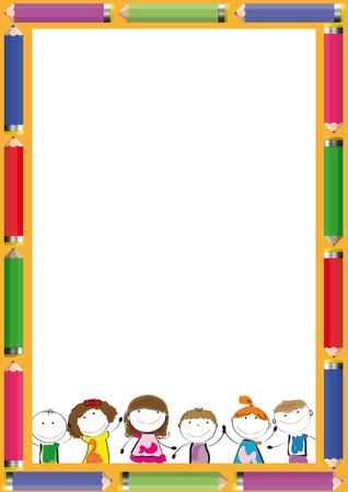 Rahmen mit bunten Buntstifte und glückliche Kinder