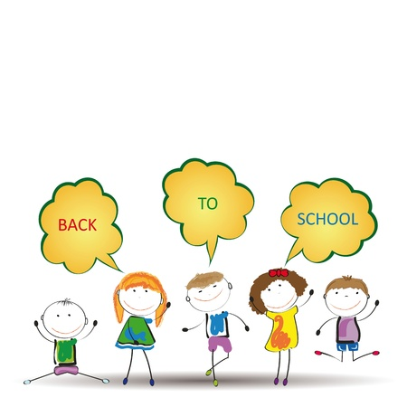 Happy girls and boys back to school Stock Vector - 19152281