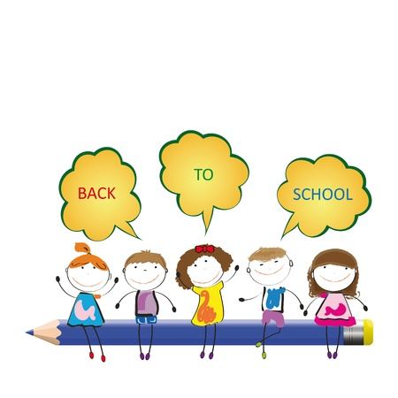 Happy girls and boys back to school Stock Vector - 19152274