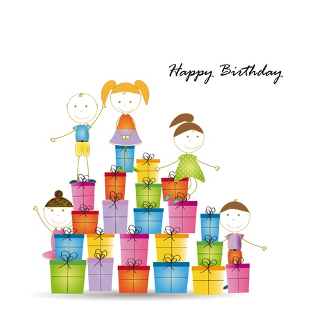Happy and cute girls and boys with many presents Stock Vector - 19594700