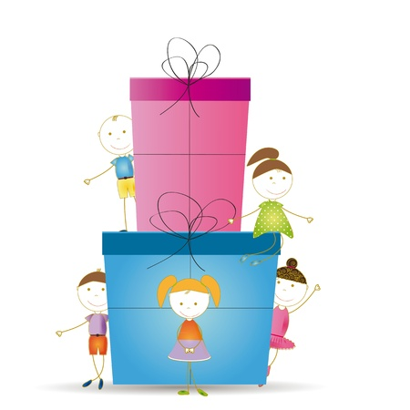 Happy and cute girls and boys with a big present Stock Vector - 19594694