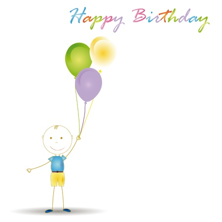 birth day: Happy and cute boy with many blloons Illustration