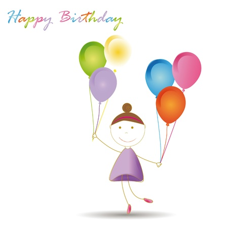 Happy and cute girl with many blloons Stock Vector - 19594692