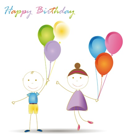 Happy and cute girl and boy with blloons Stock Vector - 19594695