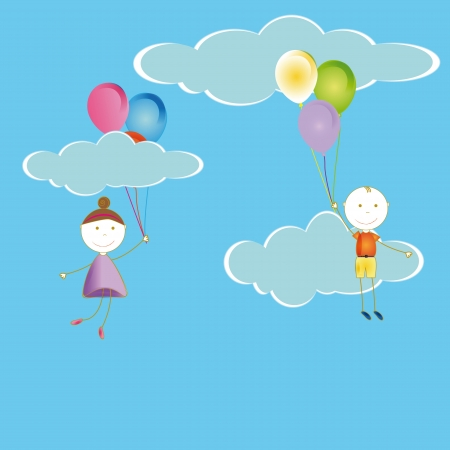 Happy and cute girl and boy with balloons Stock Vector - 19594699