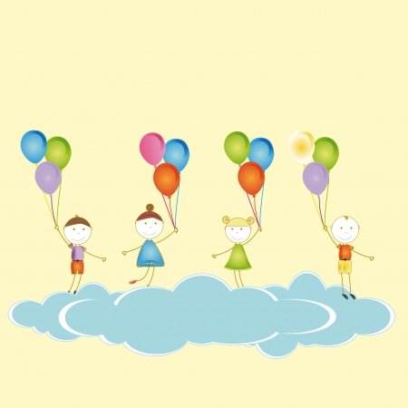 Happy and cute girls and boys with balloons Stock Vector - 19594702