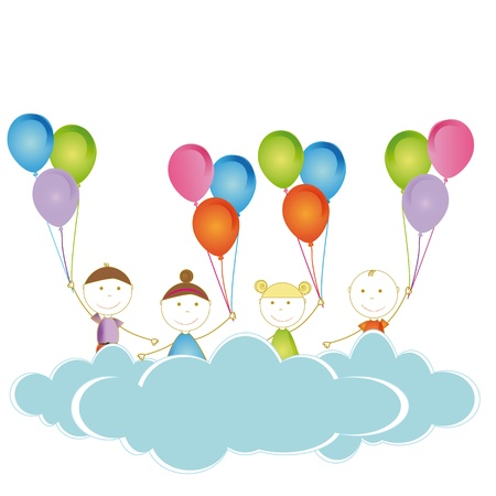 Happy and cute girls and boys with balloons Stock Vector - 19594704