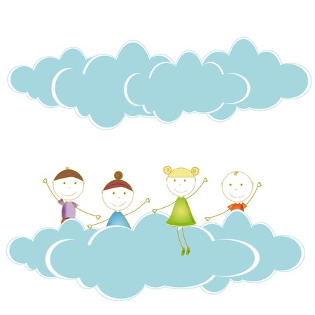 Happy and cute girls and boys in sky with clouds Stock Vector - 19594697
