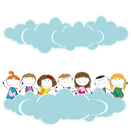 hollidays: Happy and cute girls and boys in sky with clouds Illustration