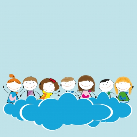 Happy and cute girls and boys in sky with clouds Stock Vector - 19594705