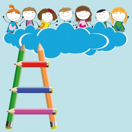 Šťastné a roztomilé dívky a chlapci v nebi s mraky Ilustrace